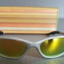 Fossil Fuel Buzz Silver Sunglasses With Mirrored Lenses Pr4009049 Nwt Tin Photo