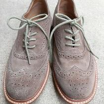 Fossil Full Brogue Tan Wingtip Nubuck Suede Shoes Size 7 Oxford Dress Lace Up Photo