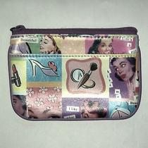 Fossil Fun Old School Fashion Print Id Purse W/ Key Ring 3 Pockets Free Shi Photo