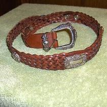 Fossil Genuine Brown Leather Braided Belt W/silver Buckle Concho's Women Size S Photo
