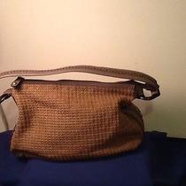 Fossil Genuine Classic Handbag Shoulder Bag  Woven Tan With Wood Rings at Strap Photo