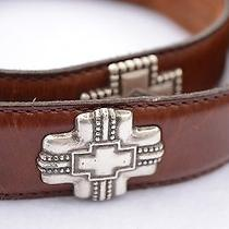 Fossil Genuine Leather Belt Brown Silver Cross Concho's Size M Photo
