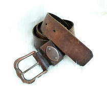 Fossil Genuine Leather Belt in Brown Brass Hardware Sz M or 32