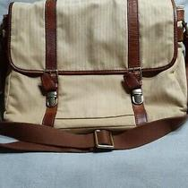 Fossil Genuine Leather Canvas Messenger Crossbody Laptop Flap Bag Green Brown Photo