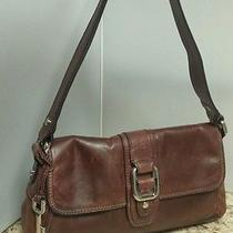 Fossil-Genuine Leather Flap Satchel Handbag-Cognac Brown Photo
