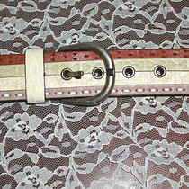 Fossil Genuine Leather Floral Tooled Heart Studded Belt Ladies Medium  Photo