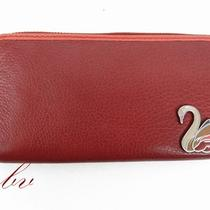 Fossil Genuine Leather Perfect Swan Clutch Walle Red - Nwt  Photo