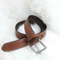 Fossil Genuine Leather Waist Belt Light Brown Silver Hardware Sz 34 Pre-Owned Photo
