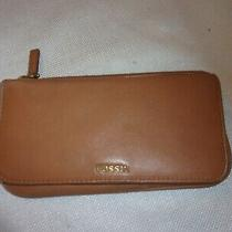 Fossil   Genuine Leather Wallet  Clutch  All in One Cognac 7x4