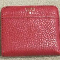 Fossil Genuine Pebbled Leather Tessa Wallet Small Mini Bifold Organizer Red Photo