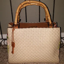 Fossil Genuine Product Weaved Tote Purse Bamboo Handles Natural & Multi  Euc Photo