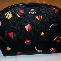 Fossil Gift Cosmetic Makeup Bag Dome Black Abstract Print  Photo