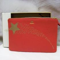 Fossil Gift Print Wristlet Pouch Real Red Leather With Credit Card Slots Nwt Photo