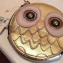 Fossil Gift Zip Coin Purse Owl Metallic Gold Nwt 48 Photo