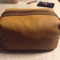 Fossil Gifts Travel Bag Cosmetic Case New Nwt Camel Leather  Photo