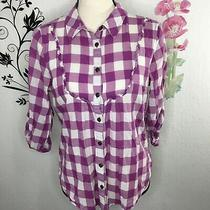 Fossil Gingham Plaid Button Front Shirt Womens Large  Photo