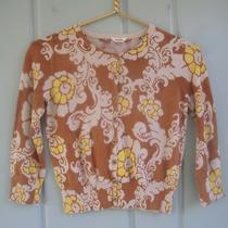 Fossil Girls Size Medium Floral Yellow Brown Cardigan Sweater 100% Cotton Ribbed Photo