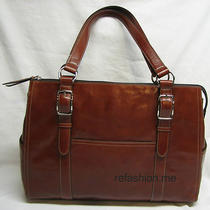 Fossil Glazed Brick Brown Leather Laptop Tote Purse Business Bag-Very Nice Photo