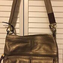 Fossil Gold Leather Crossbody Shoulder Bag Handbag Purse Photo