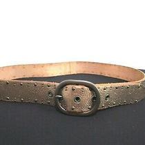 Fossil Gold Leather Silver Stud & Buckle Belt Women Size M 33