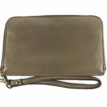 Fossil Gold Metallic Leather Zip Around Wristlet Wallet Clutch Photo