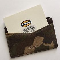 Fossil Gordon Camo Camouflage Suede Leather Slim Card Case Nwt Ml3663b346 Photo