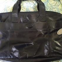 Fossil Grant Work Bag Briefcase Black Leather Laptop Handbag Photo