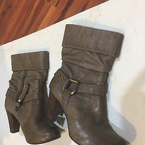Fossil  Gray Leather Heeled Ankle Boots Side Zip Very Nice Womens Size 7.5 Photo