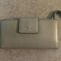 Fossil Gray Leather Slim Clutch New. No Tags Photo