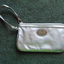 Fossil Gray Metallic Leather Zip Wristlet  Photo