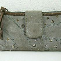 Fossil - Gray Suede Leather Clutch Wallet With Studs and Sparkles Photo