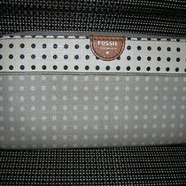 Fossil Gray White Dots Leather Zip Around Clutch Walletlk Photo