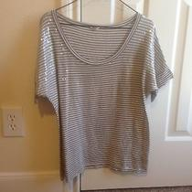 Fossil Gray White Striped Clear Sequin Top Women's Small S Photo