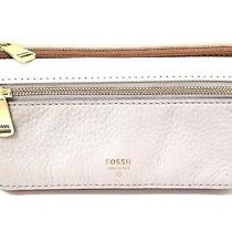 Fossil Gray White Tan-Brown Pebbled Leather Bifold Wallet Flap Clutch Handbag Photo