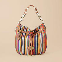 Fossil Grayson Striped Handbag 118 Zb4843  Drawstring Purse Euc Photo