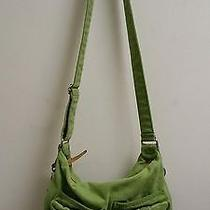 Fossil Green Canvasbrushed Cotton Crossbody Bag Purse Euc  Photo