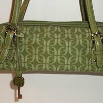 Fossil - Green Canvas Signature Print Satchel Purse Leather Trim Photo