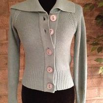 Fossil Green Cashmere Blend Solid Big Button Collar Cardigan Sweater Junior S Photo