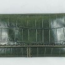 Fossil Green Croco Embossed Leather Tab Bifold Clutch Wallet Photo
