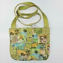 Fossil Green Cross Body Purse Canvas Surf Flowers Organizer Photo