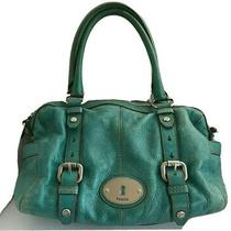Fossil Green Distressed Pebbled Leather Shoulder Bag - Tote - Maddox Photo