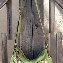 Fossil Green Fabric W/multi-Color Floral & Brown Man Made Trim Cross Body Bag  Photo