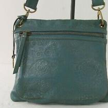 Fossil Green Floral Embossed  Leather Crossbody Bag  Purse Photo