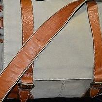 Fossil Green Khaki Canvas Leather Messenger School Shoulder Bag Laptop Large Photo