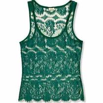 Fossil Green Lace Tank Sheer See Through Small Photo