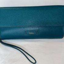 Fossil Green Leather Checkbook Wallet Photo