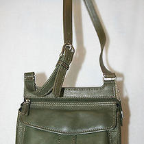 Fossil Green Leather Cross Body Messenger Purse  Photo