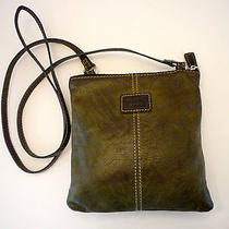 Fossil Green Leather Crossbody Messenger Organizer Bag Photo
