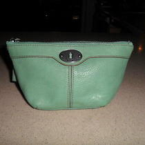 Fossil Green Leather Makeup Case Pouch Clutch Photo