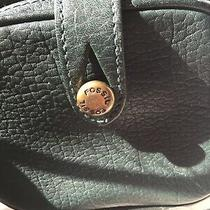 Fossil Green Leather Organizer Crossbody Shoulder Bag Purse Photo
